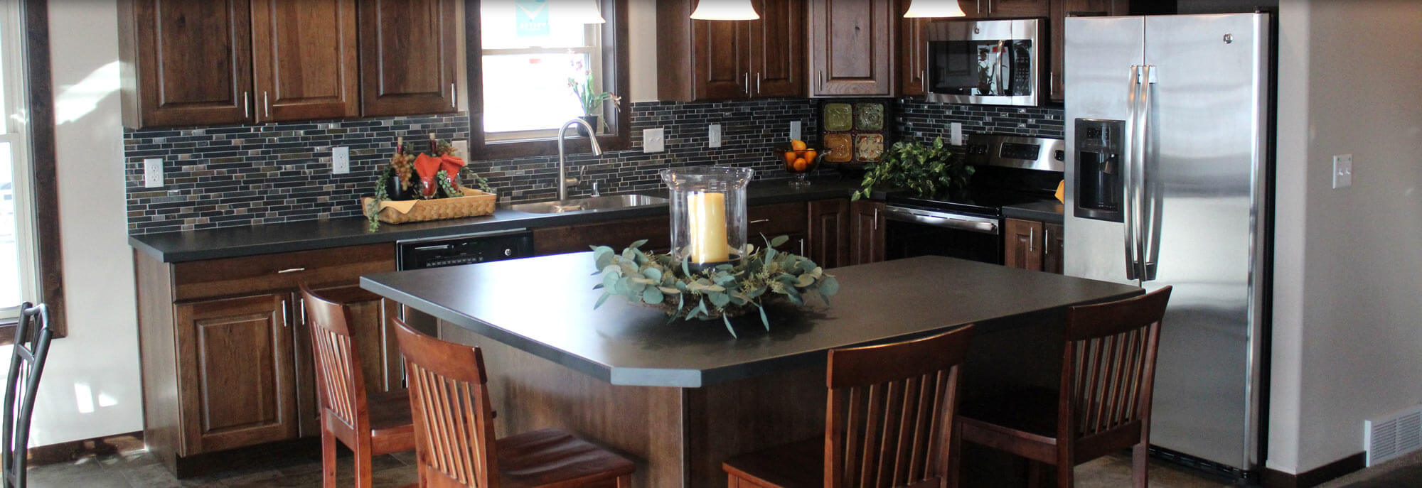 Custom gourmet kitchen in a modular / manufactured home by Factory Home Center