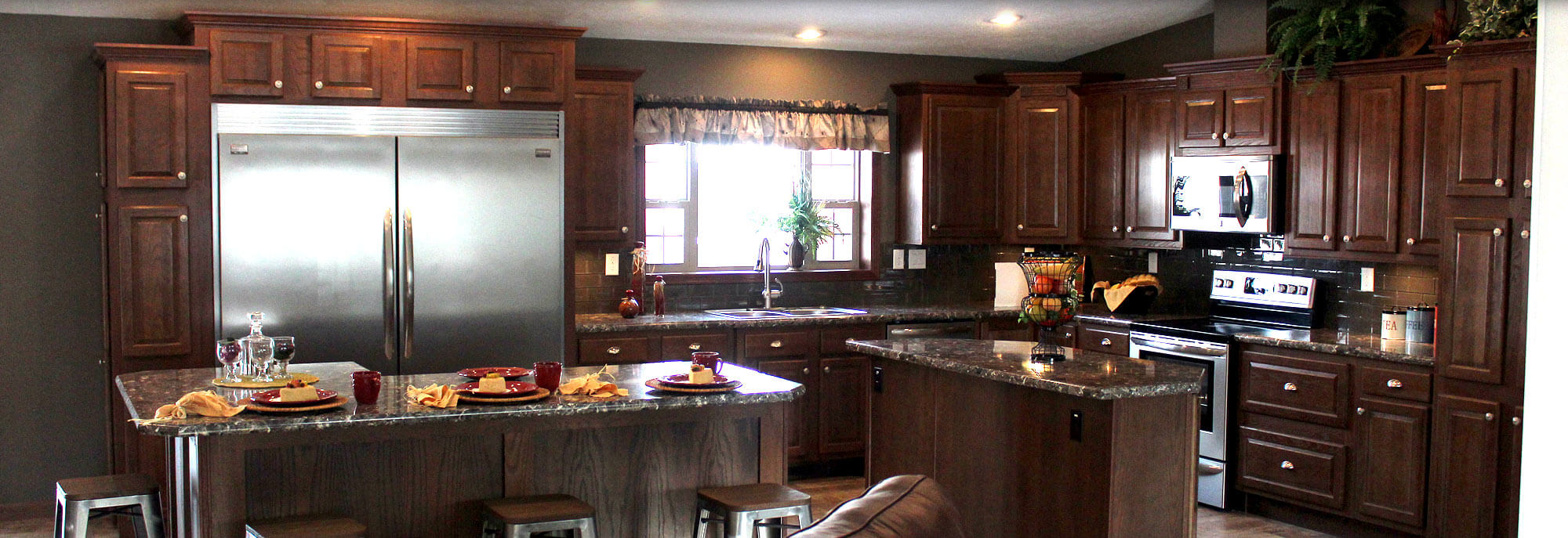 Custom gourmet kitchen with granite countertops