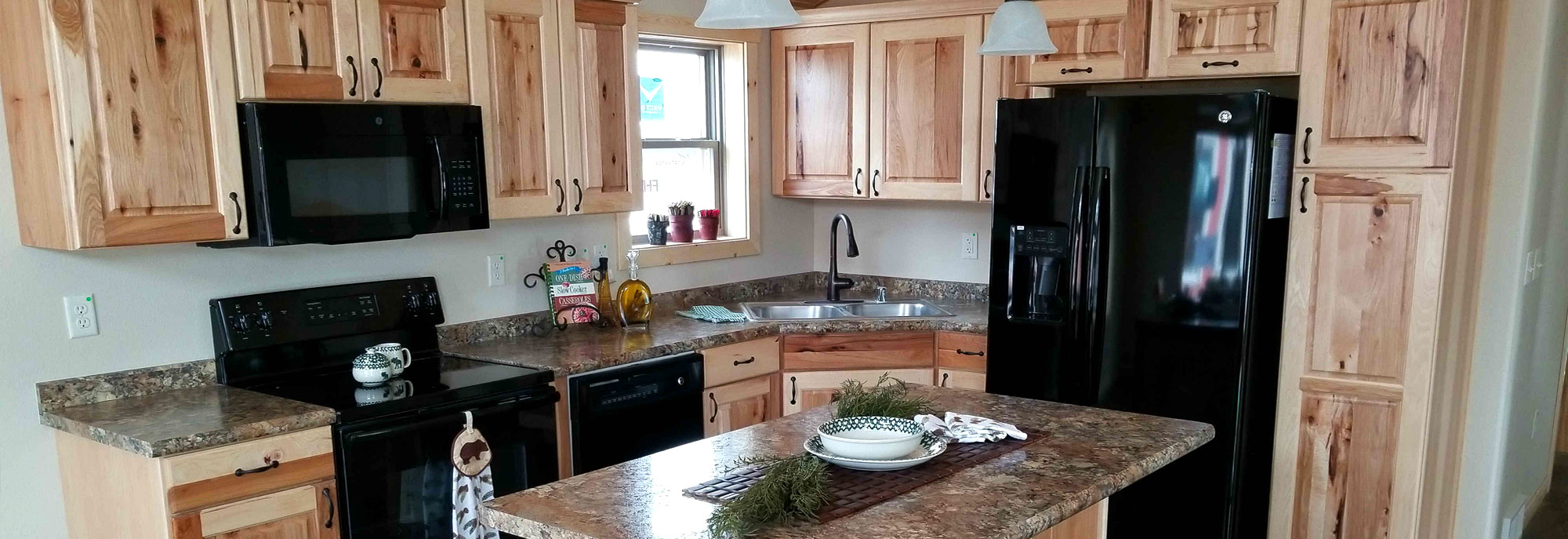 The kitchen of the Spicer Model Modular Home built by Factory Home Center